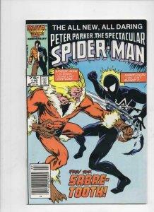 Peter Parker SPECTACULAR SPIDER-MAN #116 VF+, Sabre-Tooth 1976 1986 Marvel, UPC