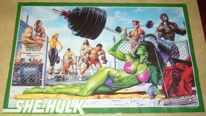 She-Hulk poster - 22 x 34 - joe jusko - muscle beach bikini 1988 marvel