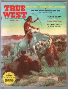 True West 8/1959-Western-Indian buffalo hunt-Sam Houston-VG