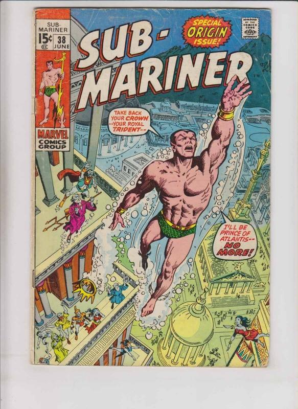 Prince Namor, the Sub-Mariner #38 VG june 1971 - origin story - bronze age