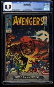 Avengers #23 CGC VF 8.0 White Pages Kang! Marvel Comics Thor Captain America