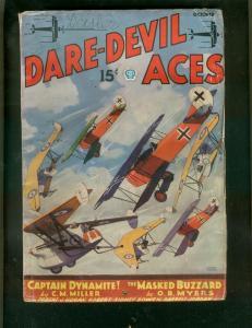 DARE-DEVIL ACES PULP-OCT 1935-CAPTAIN DYNAMITE-SCI FI   VG