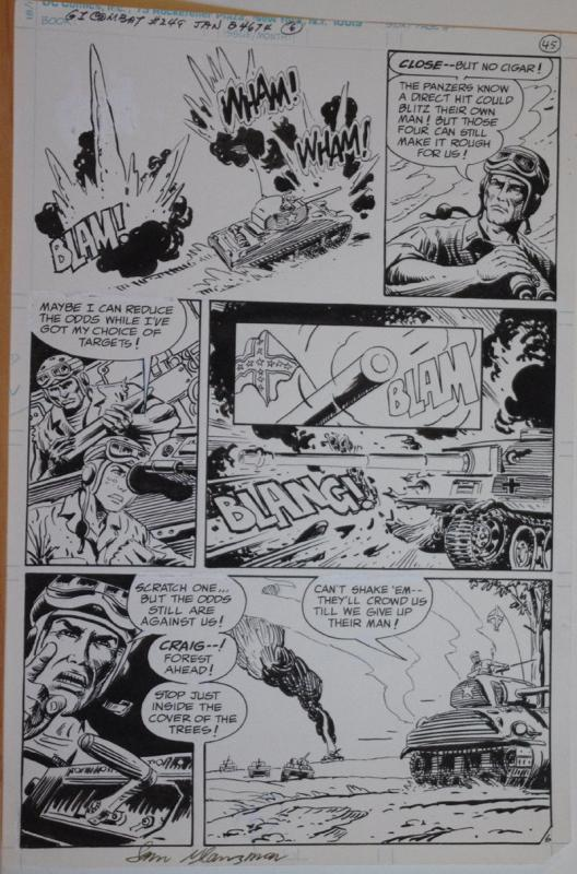 SAM GLANZMAN original art, G I Combat #249 Pg 6, 11x16, WWII, Haunted Tank