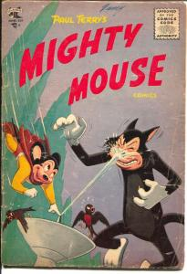 Mighty Mouse #4 1955-St Johns-sci-fi-airbrush style cover art-VG
