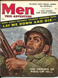 Men 3/1957-Atlas-War cover by Mort Kunstler-James Bama-pulp thrills-cheesecake-V