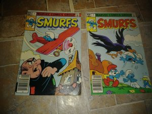 the  smurfs  comic # 1 +2 , 1982 marvel  papa smurf +gargamel +