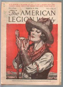 American Legion Weekly 3/21/1924-Emmett Watson cowgirl cover-pix-info-FN