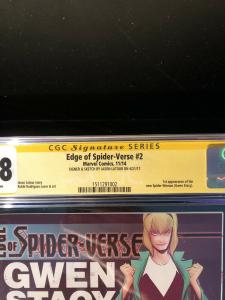 Edge of Spider-Verse #2 CGC 9.8 Signed & Sketch By Jason Latour 1st Spider-Gwen