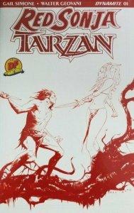 RED SONJA TARZAN #1 Jae Lee RED Sketch DF Exclusive Cover W/COA NM B4.