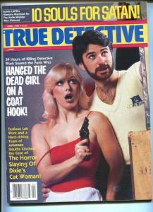 True Detective 4/1985-Souls For Satan-gun moll-horror slaying-pulp crime-FN