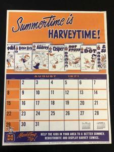 Harvey Comics Summer Lineup poster Promo Sales Calendar- August 1971