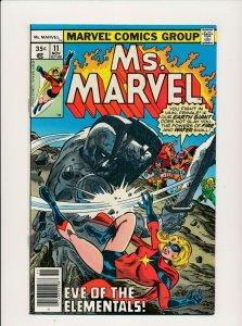 Marvel 1977 Ms. MARVEL #11 Eve of the Elementals  VERY FINE (PF908)