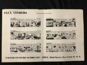 Ella Cinders Newspaper Comic Dailies Proof Sheet 10/11/54