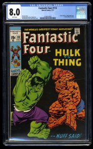 Fantastic Four #112 CGC VF 8.0 White Pages Hulk Vs Thing! Marvel Comics