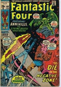 Fantastic Four #109 ORIGINAL Vintage 1971 Marvel Comics Annihilus Negative Zone