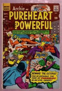 ARCHIE AS PUREHEART THE POWERFUL #1 1966 SUPER HERO-good/very good G/VG