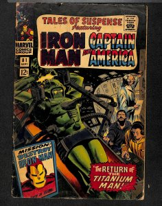 Tales Of Suspense #81 GD+ 2.5