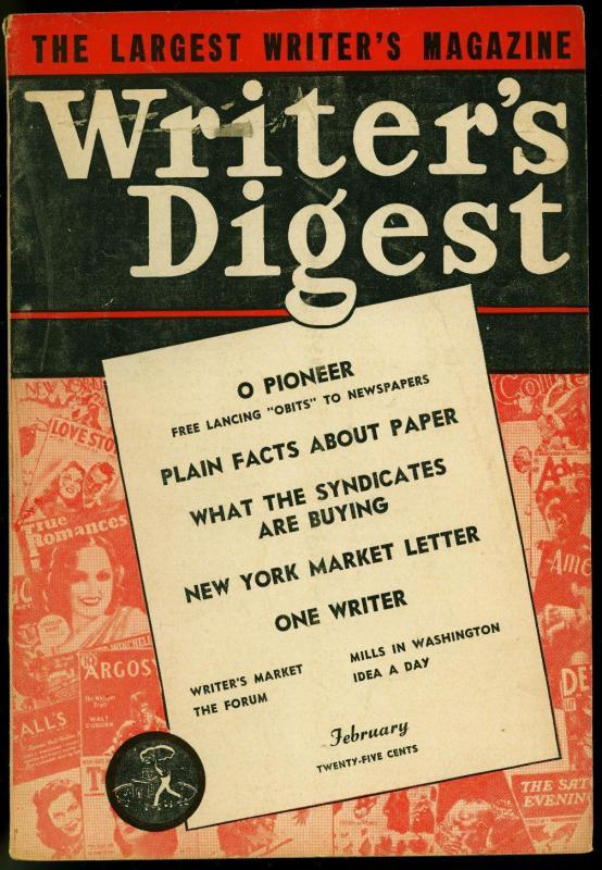 Writer's Digest February 1944- Fawcett- Detective Tales- Argosy VG
