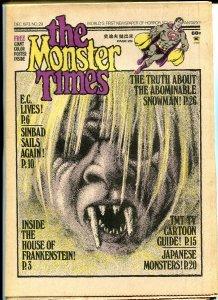 The Monster Times #29 Horror Newspaper 1973 Frankenstein Abominable Snowman