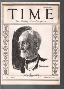 Time 1st Issue Reprint 3/3/1923-reproduction of historic 1st issue-1978 publicat