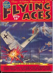 Flying Aces 7/1937-pulp-Richard Knight-Nazi plane-August Schomburg-VG