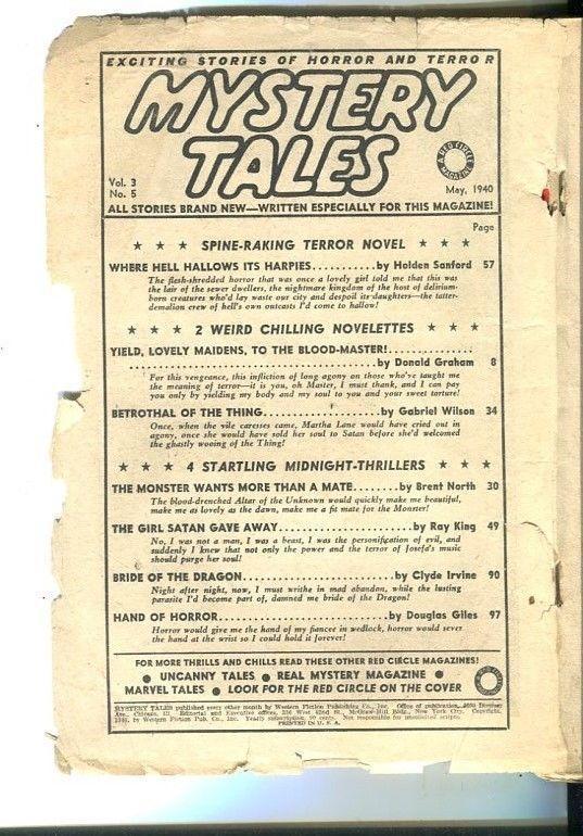 MYSTERY TALES-MAY-1940-PULP TERROR-FEMALE TORTURE-WEIRD MENACE-fair