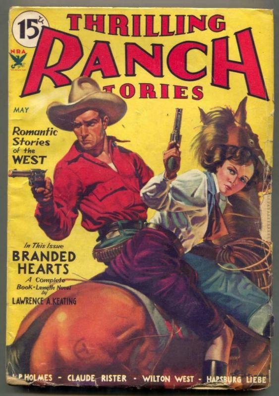 Thrilling Ranch Stories Pulp May 1934- Branded Hearts