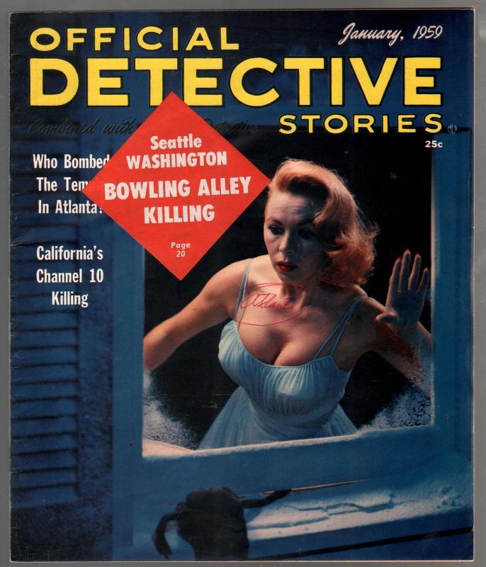 -Official Detective Stories 1/1959-teen guns-walking dead-high grade-VF /  HipComic