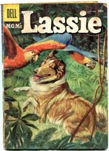 Lassie #32 1957- Macaw cover- Famous Collie- Dell comics G