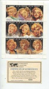 Marilyn Monroe Plate Block Postage Stamp Sheet 1997-St Vincebt-9 stamps-certi...