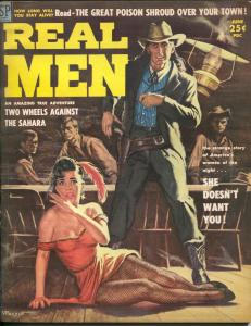 Real men 6/1958-spicy fishnet stocking cover-Vic Prezio-Cochise-Apaches-FN+