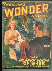 THRILLING WONDER STORIES 2/1949-EARLE BERGEY-RAY BRADBURY-PULP-fr/good
