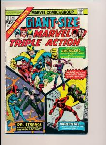 MARVEL TRIPLE ACTION #1 Avengers, Daredevil, Dr. Strange 1974  FN+  (HX590)
