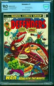 Defenders #7 CBCS VF/NM 9.0 Off White to White Marvel Comics