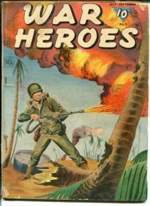 War Heroes #9 1944-Dell-WWII-flame thrower-Tarawa-U-boats-violence-FR