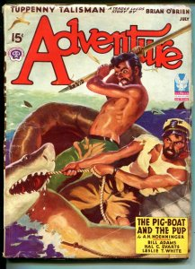 ADVENTURE-07/1943-SHARK ATTACK COVER-PULP FICTION-vg