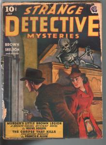 Strange Detective Mysteries 7/1942-skeleton with dagger & coffin-weird menace-G-