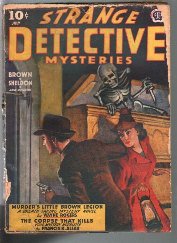 Strange Detective Mysteries 7/1942-skeleton with dagger & coffin-weird menace-G-
