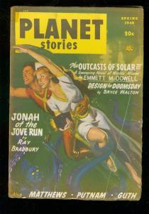 PLANET STORIES PULP-SPG 1948-FICTION HOUSE-RAY BRADBURY G/VG