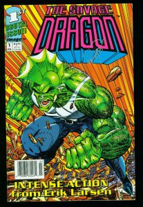 SAVAGE DRAGON #1 1992 Rare UPC variant SIGNED by ERIK LARSEN - IMAGE COMICS NM