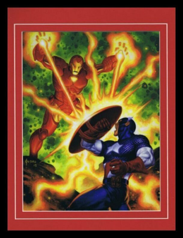 Iron Man vs Captain America Framed 11x14 Marvel Masterpieces Poster Display