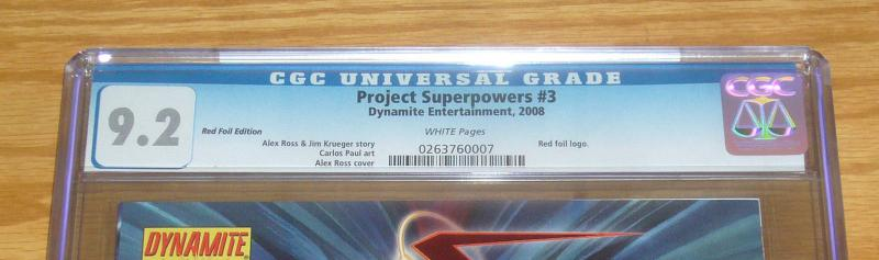 Project Superpowers #3 CGC 9.2 red foil edition variant w/COA (limited to 815)