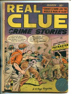 REAL CLUE CRIME STORIES VOL 4 #1 1949-HILLMAN-FIGHT COVER-CRIME-good/vg