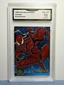 1995 Flair Marvel Annual CHROMIUM Card #2 CARNAGE GEM MT 10 Spider-Man Villain