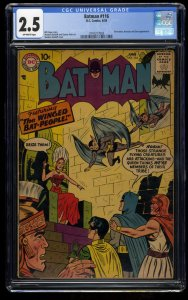 Batman #116 CGC GD+ 2.5 Off White