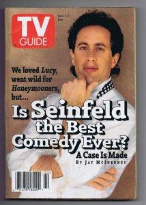 ORIGINAL Vintage June 1 1996 TV Guide No Label Jerry Seinfeld