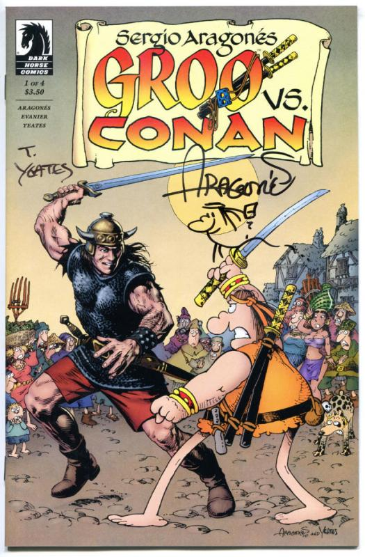GROO vs CONAN #1 2 3 4,  NM, Signed by Sergio Aragones & Tom Yeates, 2014, w/art