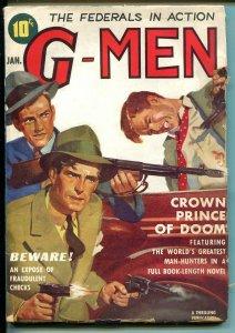 G-MEN 1/1939-THRILLING-FBI-HOOVER-PUBLIC ENEMIES-GUNFIGHT COVER-vg