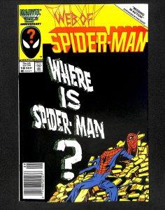 Web of Spider-Man #18 VF- 7.5 Newsstand Variant 1st Eddie Brock!