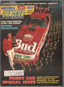 National Dragster-NHRA  12/9/1988-Kenny Bernstein-funny car issue-VG